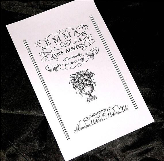 "Fabric Block Jane Austen ""Emma"" Book Cover Illustration on Cotton Fabric Panel, Jane Austen Quilt, Pillow, Tote Home Decor FB-7727"