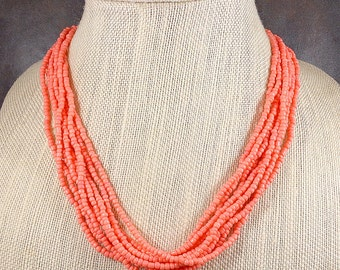 Seed Bead Necklace, Glass Bead Necklace, Multistrand Necklace, Coral, Chunky Necklace, Beaded Necklace, Pink Bead Necklace, Coral Bead