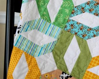 Sale - Baby Boy Quilt - Zoo Animals Quilt - Riley Blake Zoofari - Sale!