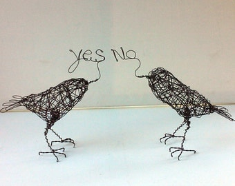 Handmade Wire Bird Sculptures - YES NO Birds - Wire Animal Sculpture