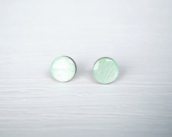 Mint Wood and Resin Stud Earrings