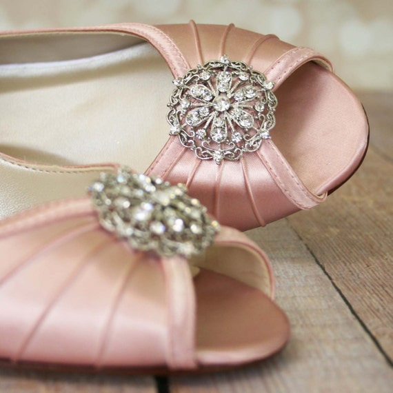 Pink Heels For Wedding: Wedding Shoes Pink / Wedge Bridal Shoes / Light Pink Shoes