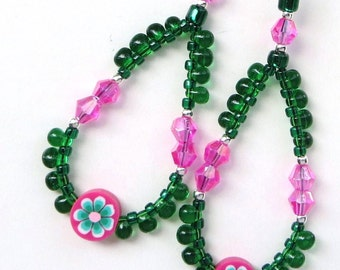 PINK and GREEN- Long Dangle Beaded Earrings- Polymer Clay and Crystals- Stainless Steel French Hook Earwires