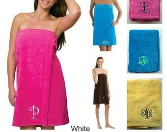 Monogram Bath Wrap Terry Velour  Personalized Swim Suit Cover Beach Wrap Pool Wrap