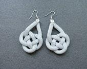 Grey and silver earrings, knot earrings, double coin earrings, knotted rope earrings, silver earrings, summer earrings, nautical earrings