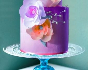 "Blue Cake Stand / 14"" Glass Cake Plate / Vintage Glass Pedestal for Cakes, Cupcakes, Truffles, Petit Fours, Cake Pops / Aqua - Sapphire Blue"