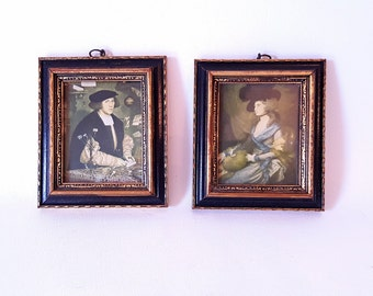 Vintage Minature Portraits Small Framed Minature Portraits Ornate Black Gold Frames Minature Classic Portraits Italian Paintings Portraits