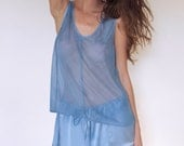Dreamy Sheer Silk Tank - Blue Sky   100% Hand-Dyed Silk   Size XS, Small, Medium or Large