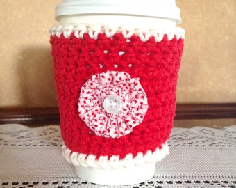 Red Floral Crochet Coffee Cozy, Red Flower, Coffee Cup Sleeve, Coffee Lovers, Coffee Cozy, Crochet Cozy