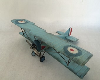 WW1 German Biplane -  Tin Metal Airplane Toy Military Memorabilia Fighter Propeller Plane based on Fokker model