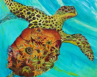Emergence Sea turtle painting Sunflower Painting Fantasy Sea Turtle Art Beach house style Florida room