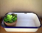 Enamelware BOX | Vintage White Enamel Medical Box | Blue Trimmed | Enamel Ware Refrigerator Pan | Large White Enamel Box | NO LID