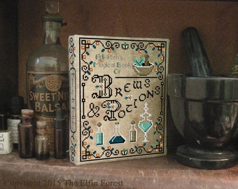 Cross Stitch Pattern Book Binding Tutorial Pagan Witch Apothecary Instant Download PDF Charts
