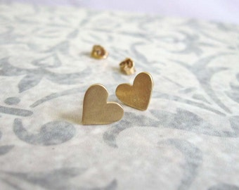 Gold heart  studs , Small everyday gold heart  post earrings , Gold stud earrings , Handmade by Adi Yesod