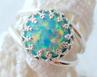 Opal ring, Mint opal ring, Silver opal ring, Gemstone ring, October birthstone ring, Sterling silver ring, Vintage ring, Multi color ring