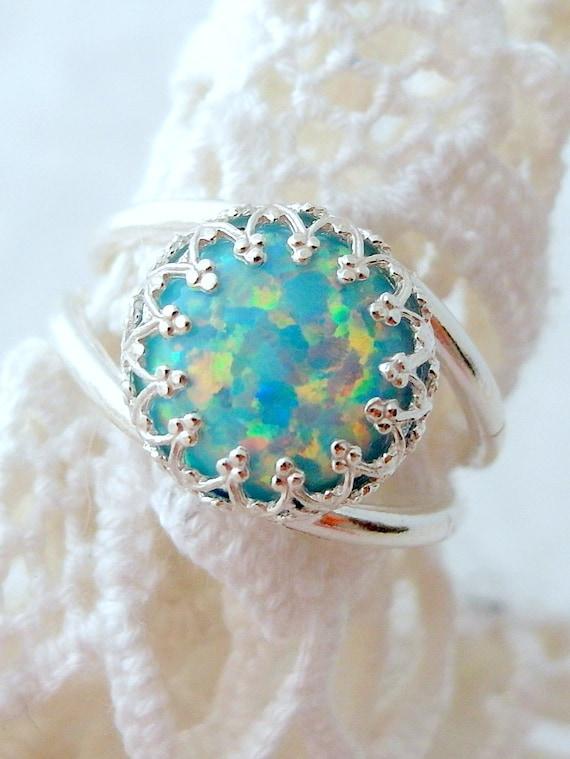 Opal Ring Mint Opal Ring Silver Opal Ring Gemstone Ring