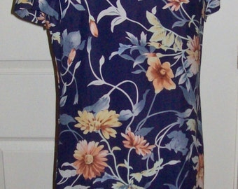 Vintage Ladies Navy Blue Floral Print Dress by Talbots Size 6 P Only 7 USD