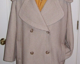 Vintage Ladies Tan Houndstooth Coat by Coldwater Creek Size 14 Only 16 USD
