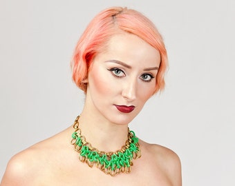 Vintage 1940s Brass and Plastic Hanging Loop Necklace