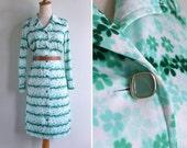 Vintage 70's Green Clover Leaf Floral Op Art Polyester Dress M or L