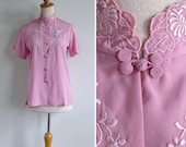 10 to 25% OFF (See Shop) Vintage 70's Pink Chinese Silk Embroidered Cutwork Eyelet Blouse XS or S