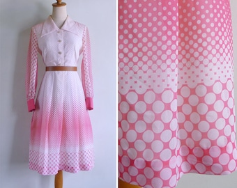 Vintage 70's Polka Dot Pink & White Op Art Gradient Dress S or M