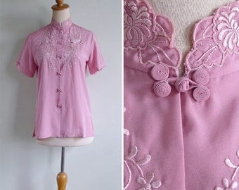 Vintage 70's Pink Chinese Silk Embroidered Cutwork Eyelet Blouse XS or S