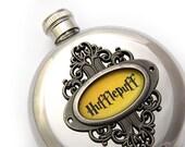 Hufflepuff Flask Harry Potter Inspired Hogwarts House Crest Harry Potter Fan Gift Round 5 oz Stainless Steel