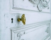 French Door, Paris Photograph, White and Gold Decor, Door Knob Photo, French Still Life, Door Photography, Gold Home Decor, Paris Decor