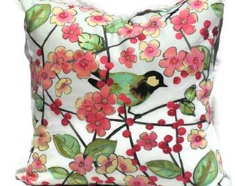 Decorative Pillow Cover, Accent Pillow, 20x20 Pillow Cover, 14x20 Lumbar Pillow Cover, Waverly Sitting Pretty, Pink, White, Green, Fuschia