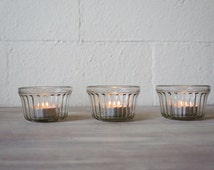 Vintage Jelly Jars, Glass Votive Holders, Set of 3- Free Shipping