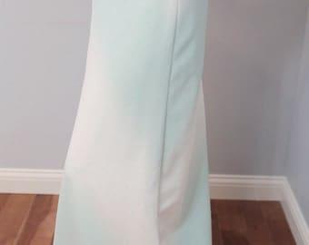 Chevron vintage maxi skirt turquoise teal white women's M