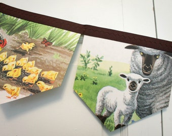 Animals on the Farm bunting banner children story book repurposed bedroom, birthday party garland photo prop backdrop