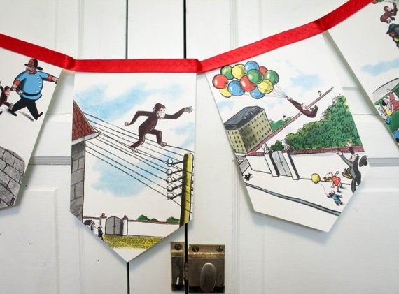 Curious George Bunting Banner Birthday Party Garland Photo Prop