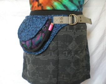 Blue and magenta reclaimed OOAK utility belt Fanny pack