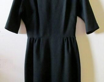 60s I. Magnin Black Dress S 36 Bust 26.5 Waist