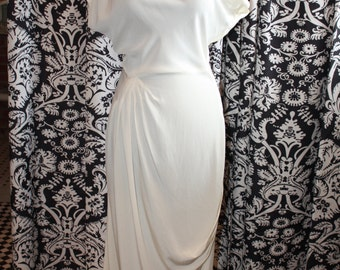 1930's Ivory Fitted Ruched Dress  Item #196-D