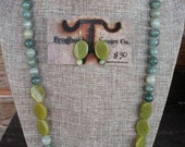 Earth-tone Brown Green Long style Necklace with earrings set