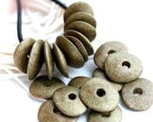 Cornflake beads, Greek Ceramic beads - Old bronze patina - donut, spacer, for leather cord, washer, 16mm - 10pc - 2309