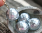 14mm beads, faux pearls, grey beads, Fire polished, czech glass, large round beads, faceted, ball beads - 4Pc - 2337