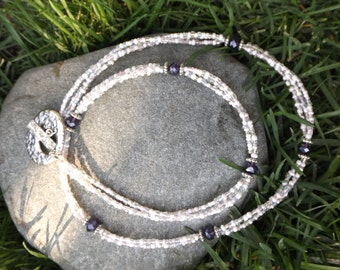 White Seed Bead Necklace with Purple Crystals