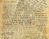 Led Zeppelin Lyrics and Quotes - 8x10 handdrawn and handlettered printed on antiqued paper