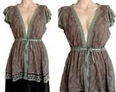 Women's Lace Open Front Dress,Open Front Tunic,Open Front Mini Dress,Upcycle Recycle dress Size M