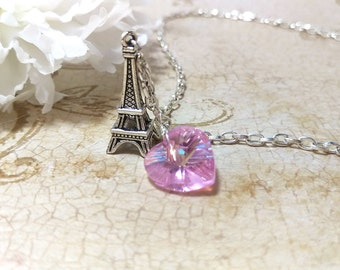 The Sophie- Paris J'adore Pink Swarovski Crystal Heart and Sterling Eiffel Tower Charm Necklace