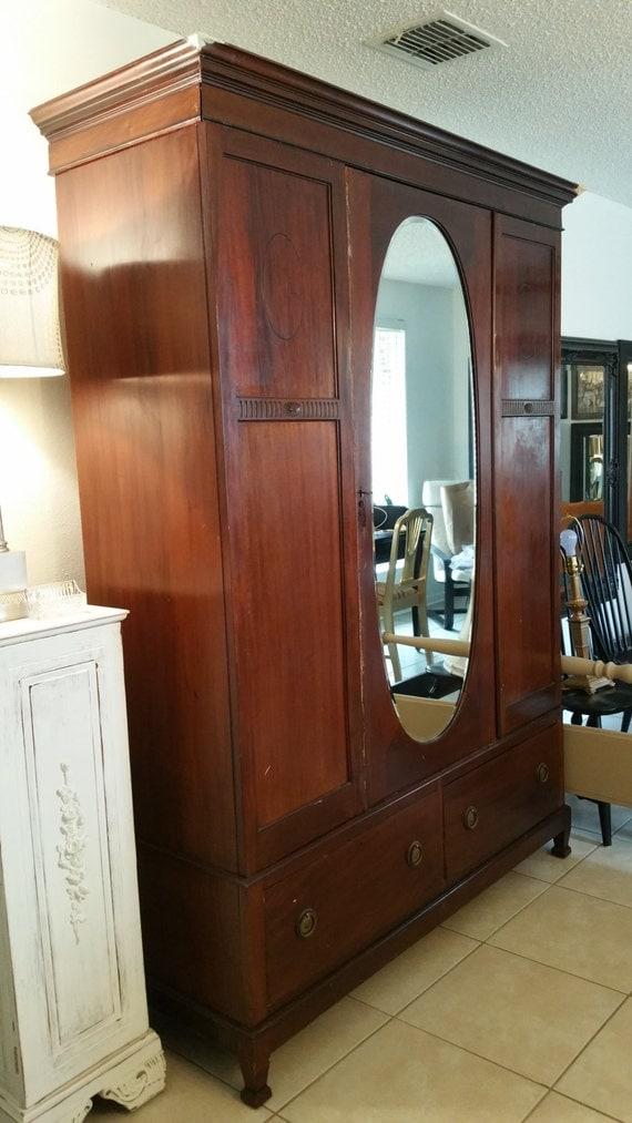 items similar to antique english armoire wardrobe oval. Black Bedroom Furniture Sets. Home Design Ideas