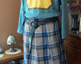"Plaid Cotton Flannel ""Cheater"" Kilt - Blue, White, Black, and Red Tartan"