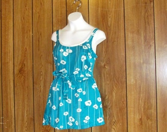Turquoise & White Vintage Flowered Skirted Bathing Suit