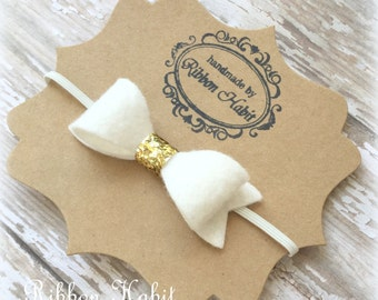 Felt Bow Headband in Gold and White, Gold Glitter Bow, White Baby Bow Headband, Newborn Felt Bow Headband, Wool Felt White Infant Bow