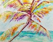 Palm Tree Painting Modern Large Custom Beach Decor Ocean Decor Palette Knife Thick Impasto Palm Tree Painting - by Kathleen Fenton