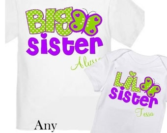 2 Big Sister Butterfly Shirts Set Siblings Little Sister Siblings T-shirts